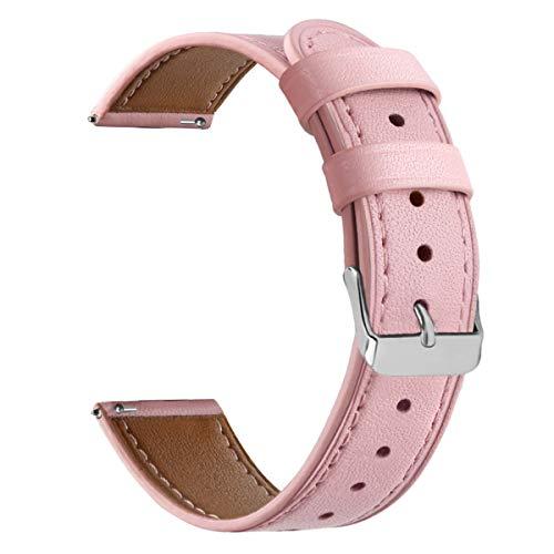 WATORY Correa compatible con Daniel Wellington y Fossil Gen 4 Q Venture HR de 36 mm, cierre rápido de 18 mm, piel auténtica, correa de repuesto para Ticwatch C2, color rosa