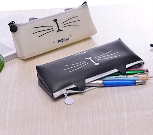Korean Boat Shaped Pectin Cat Cartoon Pencil Case, Triangle Girl Pencil Pencil Case, Student Zippered Storage Bag