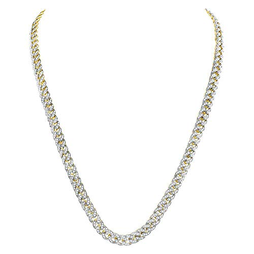 Dazzlingrock Collection 10kt Yellow Gold Mens Round Diamond Cuban Link Chain Necklace 7.00 ctw