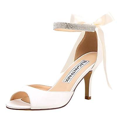 ElegantPark Women Peep Toe High Heel Sandals Bridal Wedding Shoes for Bride Ankle Strap Ivory US 9