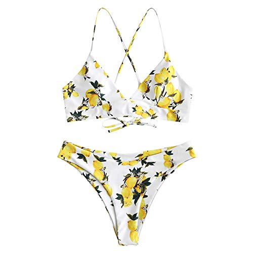 ZAFUL Frauen Lace Up Zitrone Bandeau Bikini Set High Cut Badeanzug (M, Multi-A)