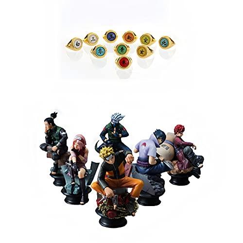 Naruto 6 Piece Figurine Set - Kakashi, Sasuke, Sakura, Naruto, Gaara and Shikamaru Chess Pieces. Best Used for Display