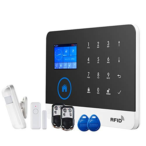 WYXR Funk Alarmanlagen Set Sabotageschutz Sirene – Alarmsystem SMS Alarmierung - Alarmanlagen fürs Haus Büro inkl. Bewegungsmelder