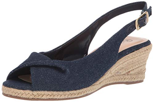 Bella Vita Women's Bella Vita Sylvie II espadrille sandal Shoe, Soft Denim, 9 2W US