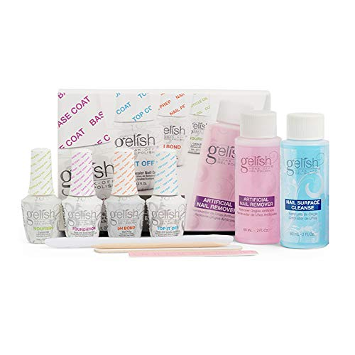 Gelish 15 mL Soak Off Gel Nail Polish Basix Care Kit with Remover and Cleanser
