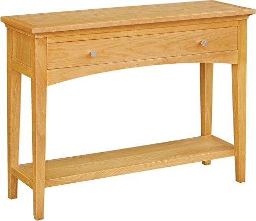 Brompton Manhattan - Mesa consola con 1 cajón con estante, roble macizo