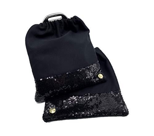 X-traordinary Horsewear - 2er Set handgenähte Premium Steigbügelschoner Black Soul mit schwarzen Glitzer-Pailletten | BxH 20x23cm | Schütze Deinen Sattel vor Verschmutzung und Kratzern