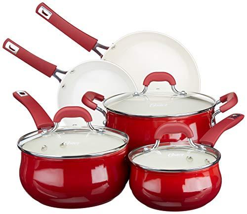 Oster - Juego de utensilios de cocina de aluminio forjado con cerámica antiadherente, base de inducción, mango de baquelita suave al tacto y tapas de vidrio templado, Rojo gradiente, 8 unidades, 1