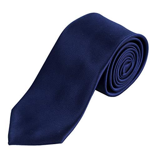 DonDon hombres corbata 7 cm business professional classica hecho a mano azul oscuro para la oficina o eventos festivos