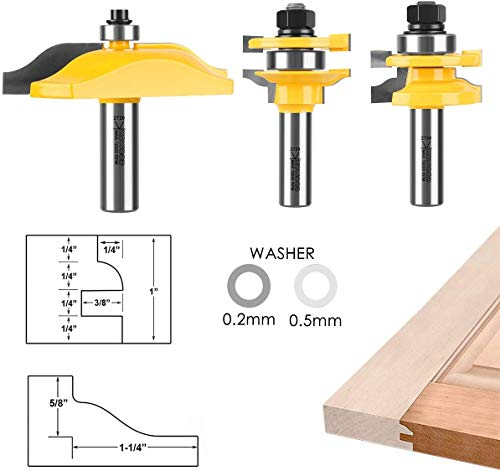 KOWOOD Ogee 3 Bit Raised Panel Cabinet Door Router Bit Set 1/2-Inch Shank