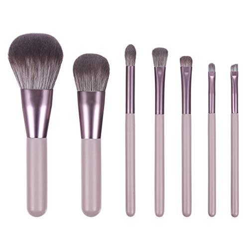 Pixnor 7 Pcs Pinceau de Maquillage Ensemble Poils en Nylon Manche en Bois Portable Fard à Joues Poudre Maquillage Outils pour Filles Femmes (Brun Gris Foncé)