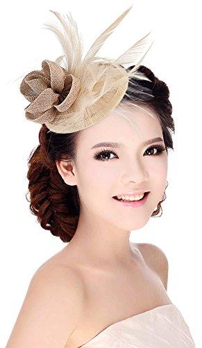 La Vogue Chapeau Bibi Femme pour Mariage Cérémonie Soirée Décoration Fleur Plume Couleur Lin