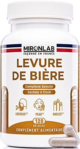 Levure de Bière Active | Pousse des Cheveux | Beauté Peau & Ongles | Associée à des Nutriments pour une Action Renforcée | Teneur élevée 1640mg |120 gélules végétales | Made in France | MironLab®