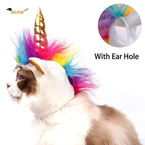 DELIFUR Hundekostüm Haustier Einhorn Hut für Katzen und kleine Hunde Welpen Zubehör für Halloween Cosplay Mähne Kappe