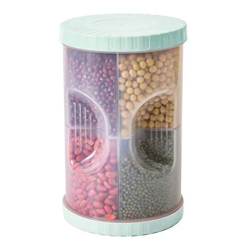 2500ml Kunststoff 4 Separate Gitter Getreide Aufbewahrungsbox Reismehl Getreide Lebensmittelbehälter Dichtung