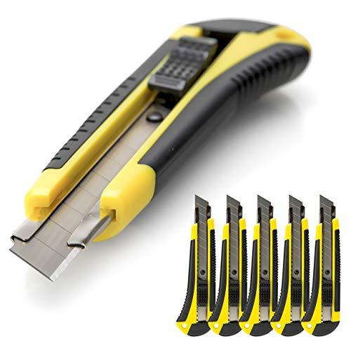 5 Stück Cuttermesser Semi-Profi OFFICE POINT | 18mm Abbrechklinge | Teppichmesser mit Wechselklinge | präzise Klingenführung | auch für Bastelarbeiten (5)