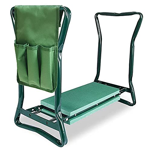 Folding Sturdy Garden Seat with Bonus Tool Pouch and Widen Soft EVA Foam Pad, Outdoor Lawn Bench Chair /Stool for Protects Knees or Rest