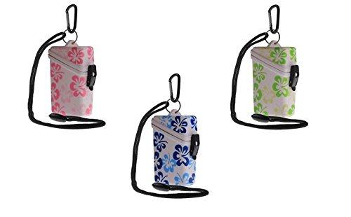 WITZ® STRANDSAFE Large - großer wasserdichter Badesafe mit blauen Blüten | Strandbox |Schwimmsafe + Karabinerhaken + Nylonschnur