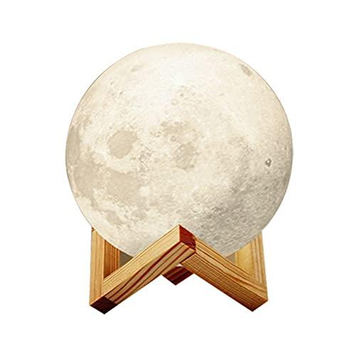 OMKMNOE Lámpara de luna para niños, luz de noche, regulable 3 colores USB de carga romántica, regalo para dormitorio, cumpleaños, Navidad, luz de la luna base de madera, blanco, 20 cm