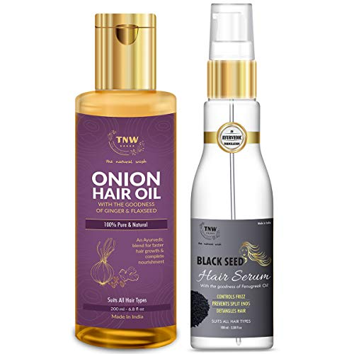 TNW-THE NATURAL WASH TNW-THE NATURAL WASH Onion Hair Oil and Black Seed Hair Serum for Strong, Frizz-free Hair (All Natural, Paraben-free)