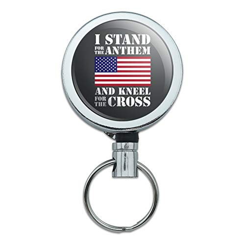 I Stand for The Flag Kneel Cross USA American Flag Patriotic Heavy Duty Metal Retractable Reel ID Badge Key Card Tag Holder with Belt Clip