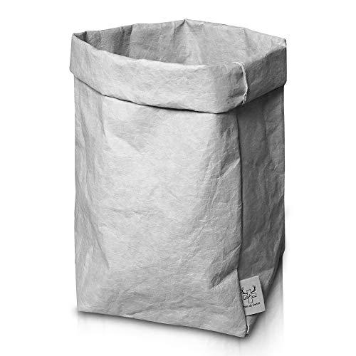 bun-di Swiss® Trash | Dekorativer Designer Papierkorb mit Knitteroptik für Büro, Arbeitszimmer | waschbares Papyr | 12l (Stone)