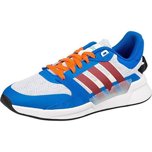 adidas RUN90S, Zapatillas de Running Hombre, FTWR White/Collegiate Burgundy/Glory Blue, 45 1/3 EU