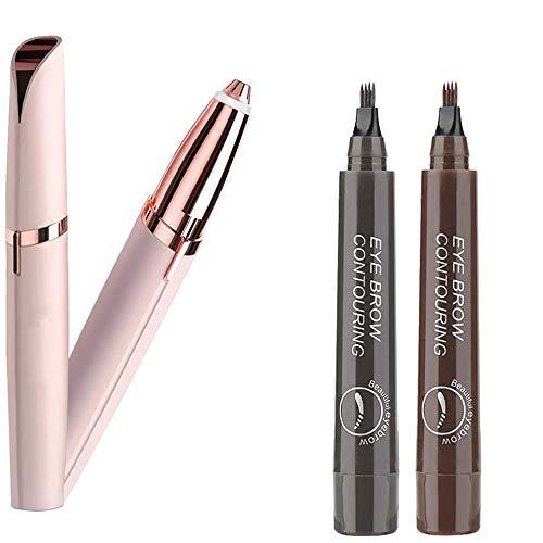 AISIR Eléctrica Depiladora de Cejas con 2 piezas Lapiz Cejas, Afeitadora Mujer eléctrica recargable, Tattoo Eyebrow Pencil con 4 Puntas de larga duración, impermeable, aspecto natural.