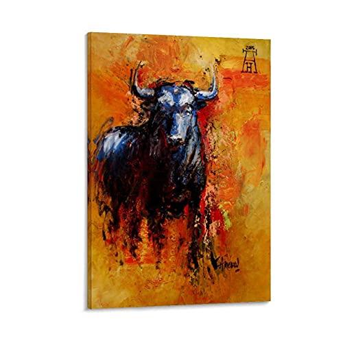 CMNHGCYD Cartel decorativo para pared, diseño de pelea de toros, 20 x 30 cm