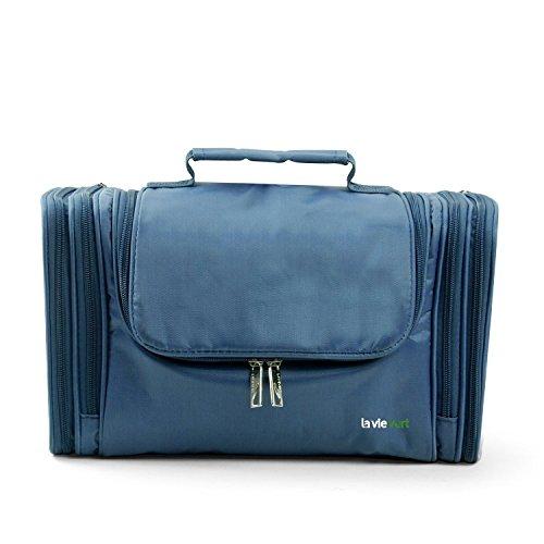 Lavievert Nylon Kulturbeutel Kulturtasche Kosmetiktasche tragbare Waschtasche Geräumige Tasche für Reise (32*14*19 cm) (Blau)