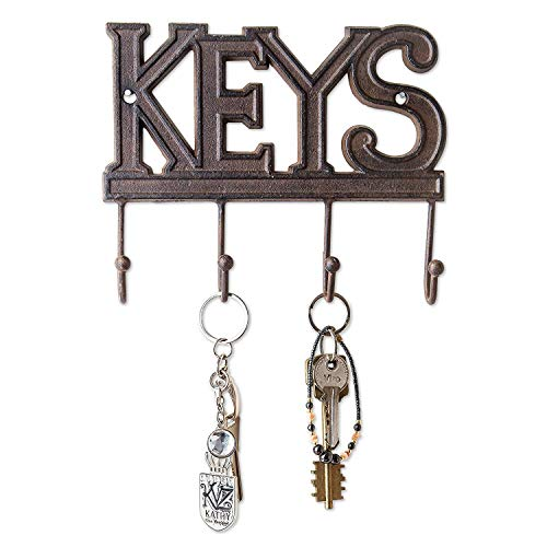 Wall Hanging Key Holder Black Plastic With Five Metal Hooks And Letter Holder