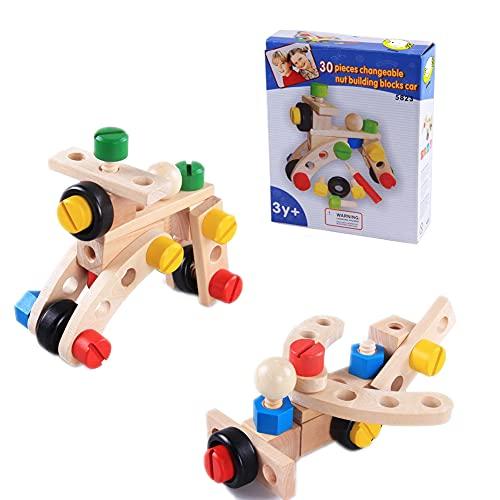 ponny Juego de 30 tornillos de construcción de madera para coches, para niños, bloques de ladrillos, modelos de ensamblaje, juguetes para niños jugando en casa