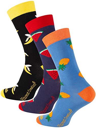 Vincent Creation 3 Paar Bunte Lustige Socken, Damen und Herren Fun Socks, Witzige Strümpfe, Verrückte Socken Modische Oddsocks Mehrfarbig als Geschenk, Einheitsgrösse (36-40, Früchte)