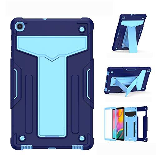 Caja Protectora de la Tableta para Samsung Galaxy Tab A8.4 (2020) T307 Soporte en Forma de T Contraste Color a Prueba de Golpes PC + Funda Protectora Plana de Silicona (Color : Navy+Blue)