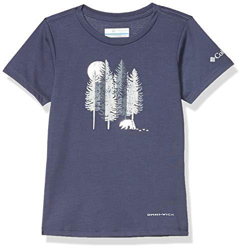 Columbia Kinder Ranco Lake Kurzärmeliges T-Shirt für Jugendliche, Blau (Nocturnal Grizzly Grounds), M