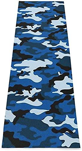 Esterilla elástica verde de mármol amarillo, esterillas de yoga impresas antideslizantes antideslizantes para yoga, pilates, ejercicio de equilibrio, etc. (70 x 24 x 0,1 cm), diseño de camuflaje azul