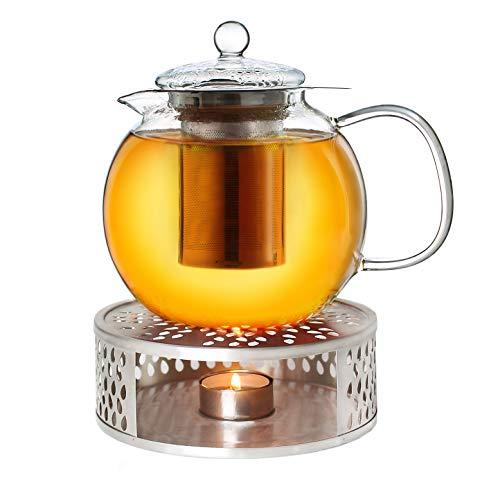 Creano Teekanne aus Glas 1,3l + EIN Stövchen aus Edelstahl, 3-teilige Glasteekanne mit integriertem Edelstahl Sieb und Glasdeckel, ideal zur Zubereitung von losen Tees, tropffrei