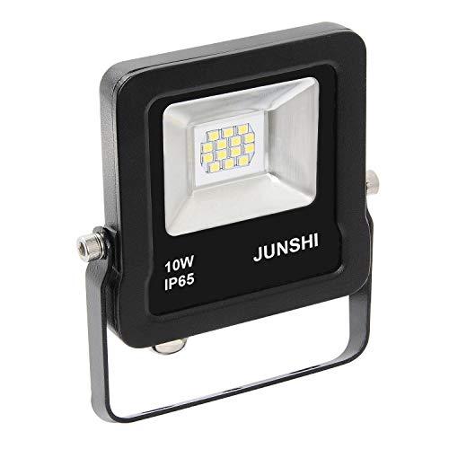 JUNSHI Proiettore Luce LED Faretto Per Esterno 10W 800lm,6500K Bianco Freddo,RA80,IP65 Impermeabile,Luce Esterna Di Sicurezza Del LED, Luci Dell'inondazione, Parete Rondella Light-Pack di 1