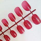 YZLIIN UñAs Postizas Uñas Postizas Ovaladas Artificiales Plástico Transparente Uñas Postizas De Color Rosa Suave Dulces Puntas De Uñas Cortas 24 Unids/Set