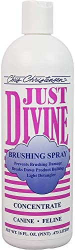 Chris Christensen Just Divine Brushing Spray,16 fl. oz. | Best Detangling Spray for All Dogs and Puppies | Eliminate Loose Hair, Remove Matts and Rejuvenate Coat