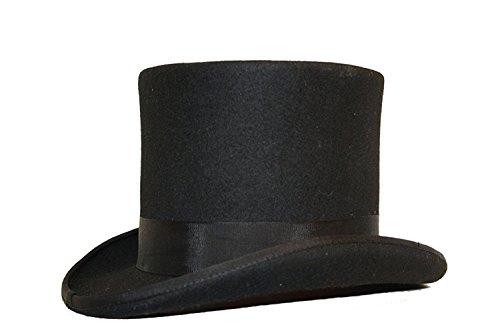 Viz Hut aus 100 % Wolle, handgefertigt, Schwarz / Schwarz, S (55) - 55 cm