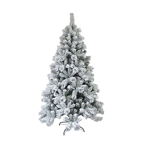ALEKO CT95H1252 Artificial Holiday Christmas Tree Premium Pine with Stand Snow Dusted 8 Foot Green and White