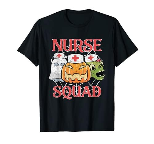 Enfermera escuadrn Halloween calabaza fantasma truco o trato Camiseta