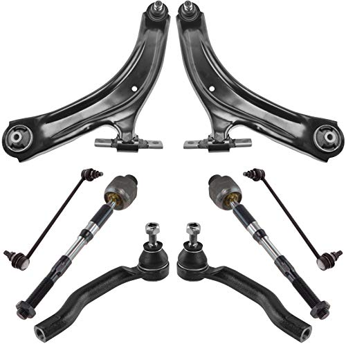 TRQ Front Control Arm Ball Joint Tie Rod Sway Bar Link Steering Suspension Kit 8pc for 2008-2013 Nissan Rogue & 2014-2015 Rogue Select (Old Body Style)