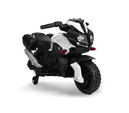 MEDIA WAVE store Motocicletta elettrica LT875 per Bambini Moto Speed con luci e Suoni realistici (Bianco)