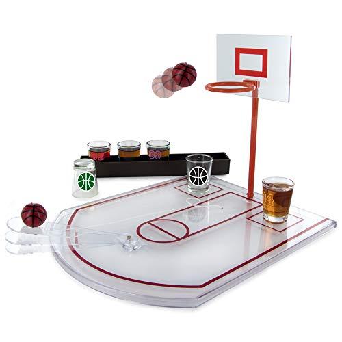 Mister Gadget mg3039 drinkspel Basket PP/glas, wit, 24 x 31 x 22,5 cm