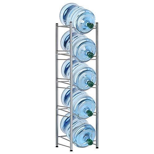 LIANTRAL Jug Holder 5 Gallon Water Bottle Storage Rack 5-Tier Silver