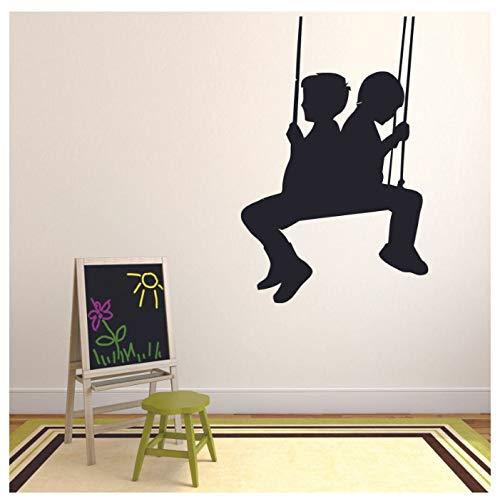 huayao Wandtattoo Kinder Spielen Schaukel Silhouette Tür Fenster Vinyl Aufkleber Kinder Schlafzimmer Schlafsaal Kinderzimmer Spielzone Innendekor 42X64Cm
