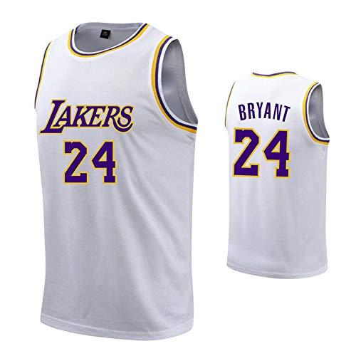 ZHS Kobe Bryant - Camiseta de baloncesto de Los Angeles Lakers # 24, número de letras bordadas para hombre, poliéster, camiseta Swingman, color blanco