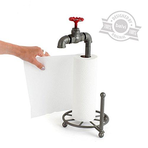 balvi Küchenpapierhalter Pipeline in Form eines Wasserhahns Industriedesign Eisen 39 x 22,5 x 18,5 cm